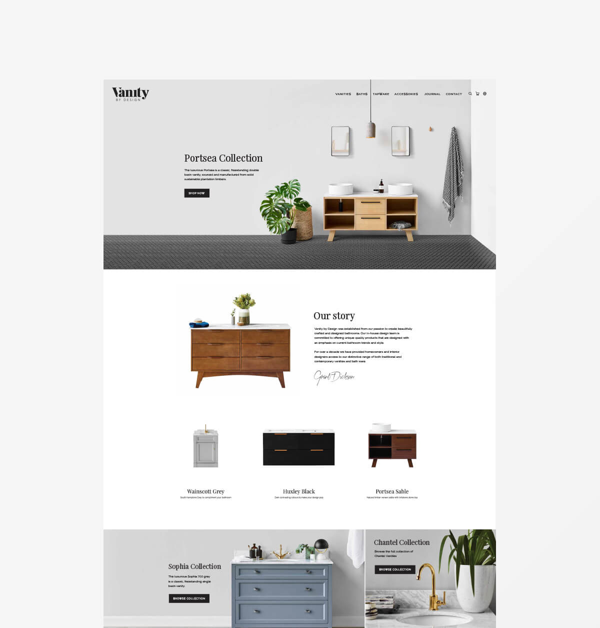 Vanity by Design Website Mockup 1